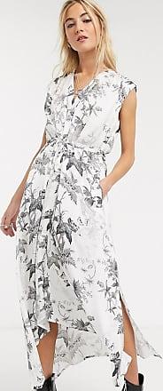 Allsaints tate evolution - Lange jurk met doodshoofden en bloemenprint in krijtwit