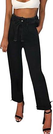 JERFER Women Plus Size High Waist Trimmings Slim Denim Skinny Jeans Pants Belt S-XL Denim Pants