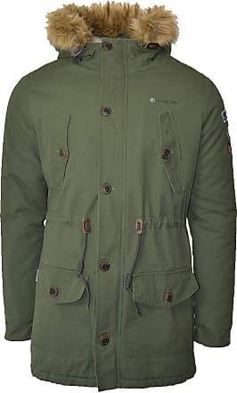 Lambretta Mens Carnaby Scooter Hooded Lined Mod Ska Badged Parka- Quilted/Sherpa Lined - Khaki 2XL