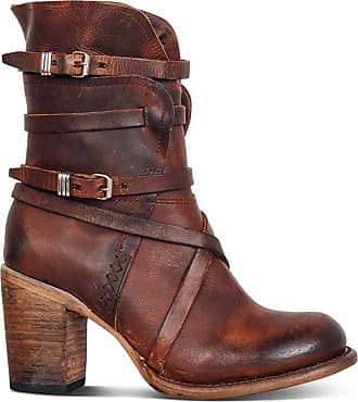 TOMWELL Women Winter Mid Boots Ladies Faux Leather Block Heel Riding Boots Western Cowgirl Boots Handmade Comfy Outdoor Shoes Brown 6.5 UK