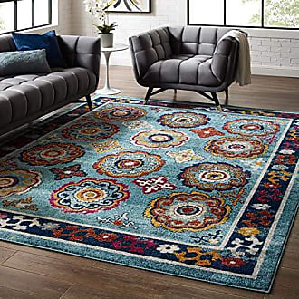 ModWay Odile Transitional Distressed Vintage Floral Moroccan Trellis Area Rug, 8x10, Blue, Red, Orange Yellow