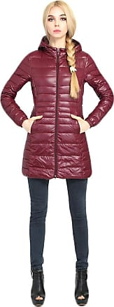Inlefen Ladies Hooded Down Jacket Ultra Lightweight Parka White Duck Down Warm Breathable Windproof Zipper Winter Womens Down Coat Jacket Outwear with Pockets