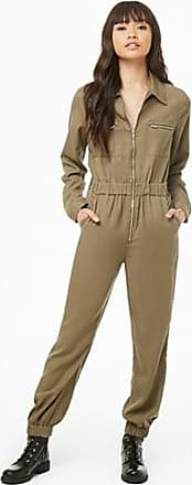 Forever 21 Forever 21 Zip-Front Chambray Jumpsuit Olive