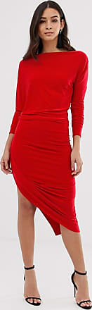 Forever Unique Soepelvallende midi-jurk met oneven zoom-Rood