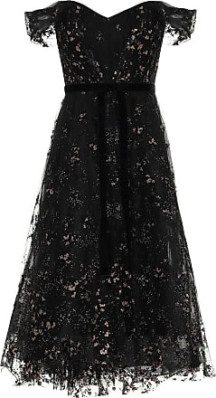 Marchesa Off-the-shoulder lace midi dress