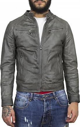 Leather Trend Italy U06 - Giacca Uomo in Vera Pelle colore Grigio Oil Vintage