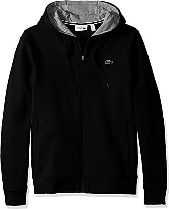 Lacoste Mens Full Zip Hoodie Fleece Sweatshirt, Black/Silver Chine, 4X-Large
