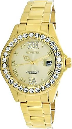 Invicta Womens Pro Diver 18K Gold Plated SS Gold-Tone Dial