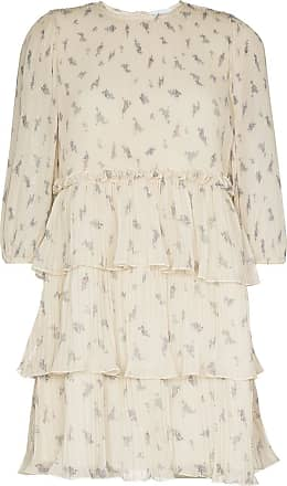 Ganni floral print pleated mini dress - NEUTRALS