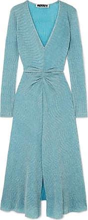 Rotate Gathered Metallic Stretch-knit Midi Dress - Sky blue