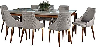 Manhattan Comfort 3-10141511013353 Payson & Utopia Large Complete Midcentury Modern Dining Set, 82, White Gloss/Grey