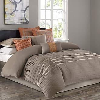 Natori Nara Queen Size Bed Comforter Set - Neutral, Striped - 4 Pieces Bedding Sets - 100% Cotton Bedroom Comforters