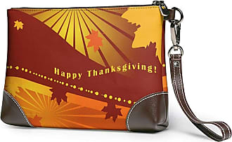 GLGFashion Womens Leather Wristlet Clutch Wallet ThanksgivingTurkey Leaves Storage Purse With Strap Zipper Pouch