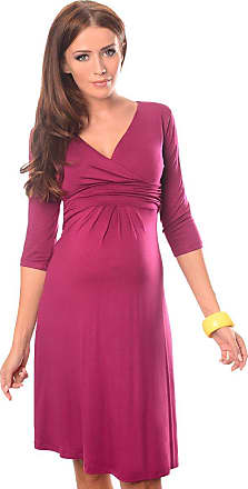 Purpless Maternity Classic Pregnancy Dress Vneck A line 4400 (12, Dark Pink)