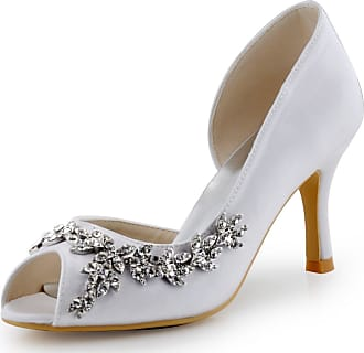 Elegantpark HP1542 Wedding Shoes for Bride Women Bridal Shoes High Heels Peep Toe Satin DOrsay Rhinestones Wedding Court Shoes White UK 7