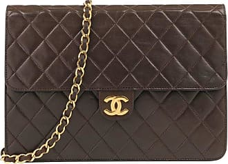5b9390acb62e Chanel C.1990s Brown Diamond Quilted Lambskin Leather Classic Flap Bag