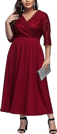 FeelinGirl Womens Plus Size Evening Dresses V Neck Half Sleeves High Waist A Line Party Dress (Lace-red, UK 22-24 3XL)