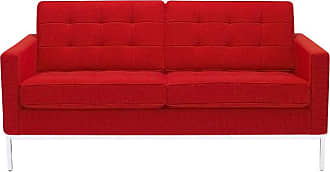 Knoll Florence Knoll 2-Sitzer Sofa - rot/Gestell chrom/Stoff Tonus Bright Red 130/ohne Knöpfe