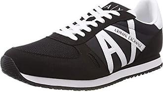 A|X Armani Exchange Mens Lace Up Sneaker with Logo, Black + White, 11 M US