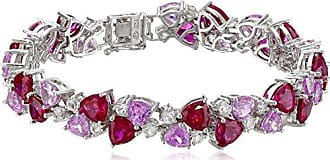 Amazon Collection Sterling Silver Created Ruby, Pink Sapphire, and White Sapphire Bracelet, 7.25