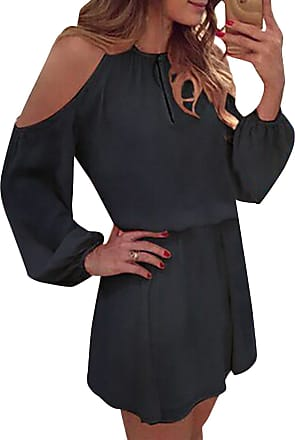 Yoins Women Playsuit Jumpsuits Cold Shoulder Long Sleeves Mini Dress with Open Back Design Z-black XXL