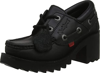 Kickers Womens Klio Lace Up Black Leather Shoes