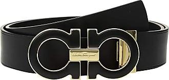 Salvatore Ferragamo Adjustable Casual Double Gancini (Nero) Mens Belts