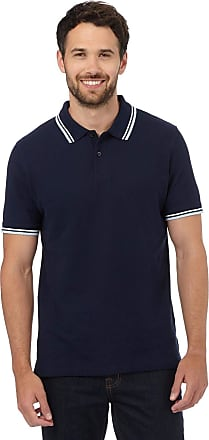White Label Maine at Debenhams Mens Tipped Cotton Pique Polo Shirt in Black or Navy Navy Size M