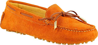 Leonardo Shoes Womens Handmade Driving Loafers Shoes in Orange Suede Leather - Model Number: 502 CAMOSCIO Arancio - Size: 3 UK
