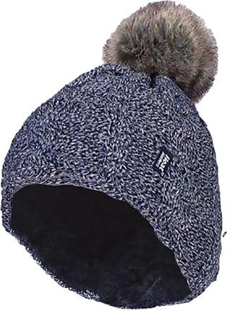 Heat Holders 1 Ladies GENUINE Heat Holder Heatweaver Cable Knit Thermal Winter Warm HAT TOG 3.4 Variations - Pom Pom/Turn Over Cuff/Standard Beanie (Ladies Navy PO