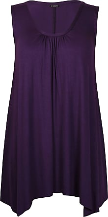 Purple Hanger Womens Sleeveless Ladies Stretch Gathered Round Neck Uneven Hem Long Vest T-Shirt Top Purple 24-26