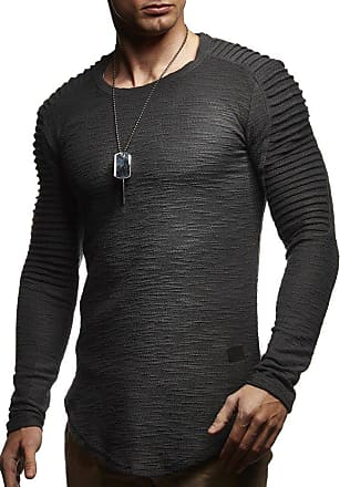 LEIF NELSON Mens Sweater Long Sleeve Crew Neck Sweatshirt LN-6326 Anthracite XX-Large