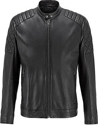 BOSS Slim-fit biker jacket in waxed leather