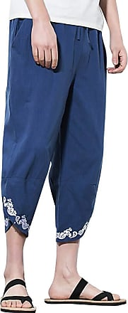 ZYUEER Mens Pants Yoga Harem Pants Mens Embroidered Linen Loose Wide Leg Pants Cropped Trousers Daily Summer Autumn Navy