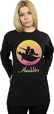 Absolute Cult Disney Womens Aladdin Flying Sunset Boyfriend Fit Long Sleeved T-Shirt Black XX-Large