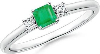 Angara Valentine Day Sale - Classic Square Emerald and Diamond Three Stone Ring
