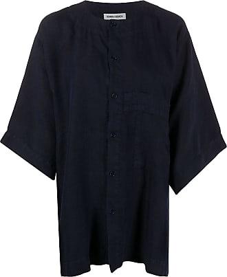 Henrik Vibskov Camicia oversize senza colletto - Di colore blu
