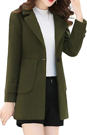 H&E Womens Classic Fit Single-Breasted Outwear Jacket Wool-Blend Lapel Pea Coat Army Green X-Small