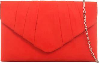 LeahWard Womens Suede Clutch Handbags Purse Wedding Bags 308 (Scarlet)
