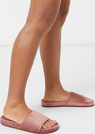 Hunkemöller velour slider slipper in pink
