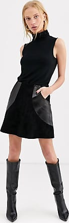 & Other Stories panelled suede mini skirt in black