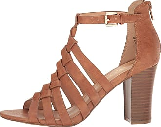 xoxo Womens Baxter Leather Peep Toe Casual Ankle Strap Sandals, Tan, Size 9.5 US / 7.5 UK US