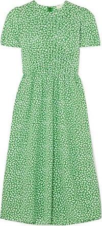 Michael Kors Pleated Printed Crepe Midi Dress - Green