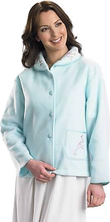 Slenderella Womens Premium Quality Bed Jacket. Super Soft Fleece with Pocket. (10-12, Mint)