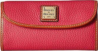 Dooney & Bourke Pebble Leather New SLGS Continental Clutch (Strawberry/Tan Trim) Clutch Handbags