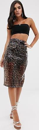Missguided vinyl midi skirt in animal print-Multi