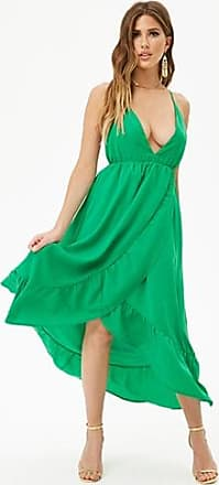Forever 21 Forever 21 Ruffle-Trim High-Low Dress Green