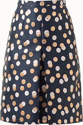 Akris Gold Leaf Dot Jacquard Skirt