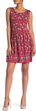 Max Studio Patterned Sleeveless Fit & Flare Dress