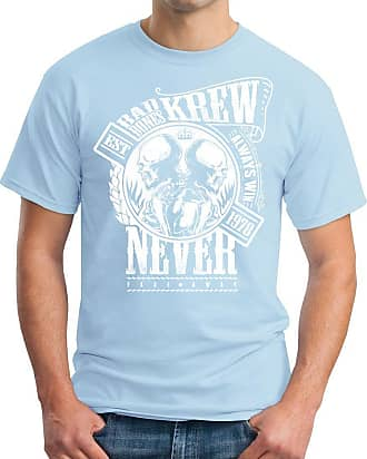 OM3 Bad-Bones-KREW - T-Shirt EST 1978 Always Win Never Fade Away MC Skull Rocker, M, Sky Blue